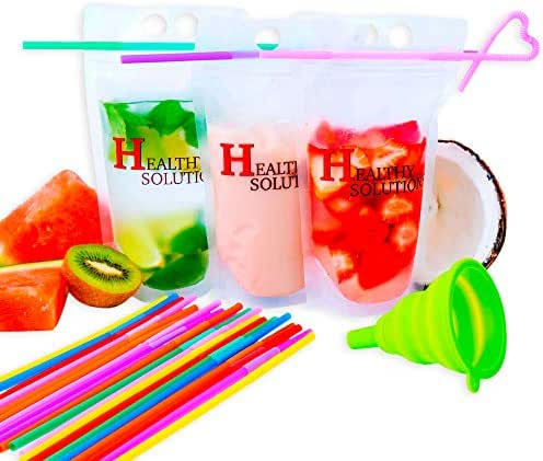 100 Pcs Drink-pouches Containers With Reusable Straws&Funnel, Reusable Clear Zipper Plastic, Pouches, For Dried Fruit Great Freezer Bags, Lunch Containers, Clear Bag With A Strong Zipper Pack Of 100