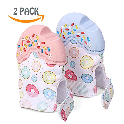 Baby Teething Mittens 2 Pack Self Soothing Pain Relief Mitts, Stimulating Teething Toys, Scratches Protection Gloves, Adjustable Stay on Baby Hands Perfect for 0-12 Months Baby Pink + Blue