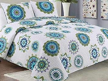 Couvre-lit r/éversible double face matelass/é couvre-lit 3 pi/èces 180x220 2 taies doreiller couverture de lit Tavira Bleu Blanc