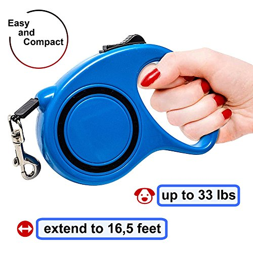 Retractable Dog Leash - Walking Leash 16.5 ft for Small Medium Breed up to 33 lb -  Pet Training Leash Retractable - Durable Plastiс Dog Leash - Best Automatic ()