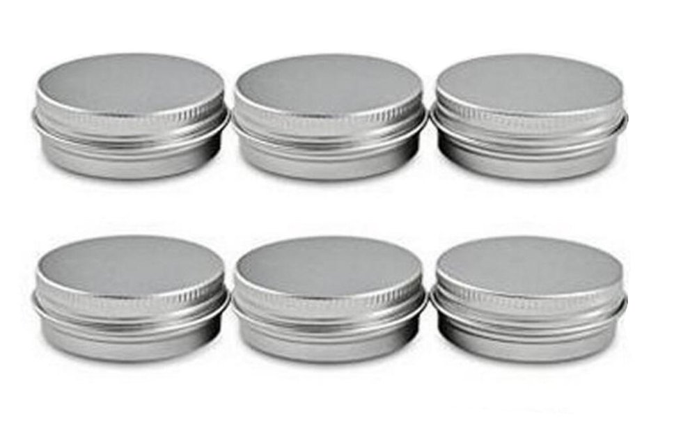 6PCS 120 ML 4oz Round Aluminum Jars Tins Metal Steel Cosmetic Sample Containers With Screw Top For Beard Balm Salve Lip Balm Crafts Make Up Candles Storage Bottle ASTRQLE