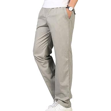 c35b032ce7 Juleya Pantalones Rectos Flojos Ocasionales De Los Hombres Pantalones  Elásticos Cintura con Bolsillo con Cierre Más Los Tamaños Pantalones Largos  XL-6XL  ...