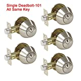5 Pack Probrico Interior Bedroom Single Cylinder Deadbolt One Keyway Keyed Alike Same Key Safety Bolt Door Lock Lockset in Satin Nickel-Single Deadbolt-101
