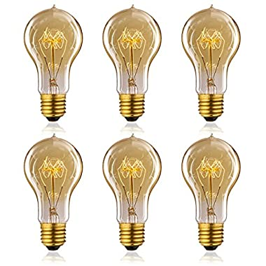 Homestia Amber Color E26 A19 60W 110V Vintage Antique Edison Style Incandescent Clear Glass Light Lamp Bulb (6 pack)