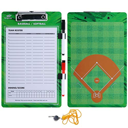 Baseball Coaches Dry Erase Clipboard - Softball Double Sided Lineup Coach Whiteboard Bundled with Whistle and Dry Erase Markers - Coaching Equipment Playbook Board Gear for Great Coaching Tactics