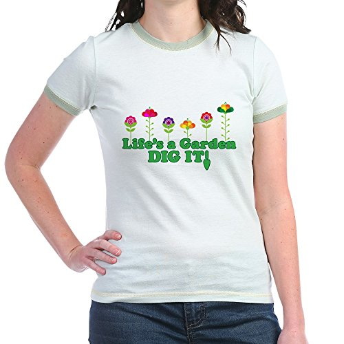 - CafePress - Life's A Garden Dig It - Jr. Ringer T-Shirt, Slim Fit 100% Cotton Ringed Shirt Mint/Avocado