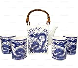 Happy Sales Japanese Porcelain Tea Set Imperial Dragon Blue