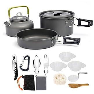 AUTOPkio Camping Cookware Set, Portable Lightweight Outdoor Cookset Cooking Pot Pan Bowl Mess Wine Opener for 2-3… 9