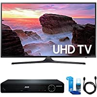 Samsung UN43MU6300 43 4K UHD Smart LED TV (2017 Model) w/ HDMI DVD Player Bundle Includes, HDMI 1080p High Definition DVD Player with USB Port, 6ft High Speed HDMI Cable and LED TV Screen Cleaner