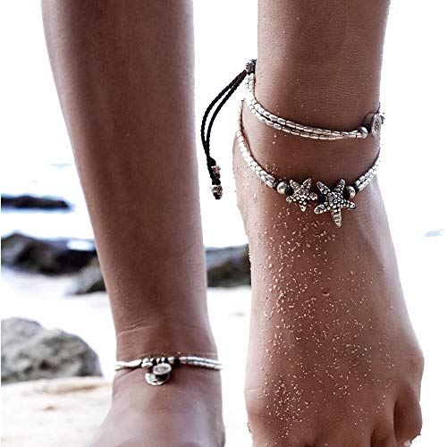 MINGHUA Boho Starfish Anklet Vintage Ankle Women Buddha Foot Jewelry Beach Summer Barefoot
