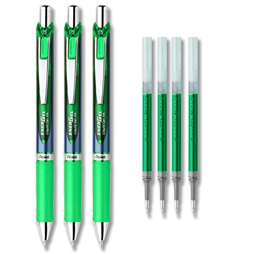 Pentel EnerGel Deluxe RTX Liquid Gel Ink Pen Set Kit, Pack of 3 with 4 Refills (Green - 0.5mm) (Pentel Green Ink)