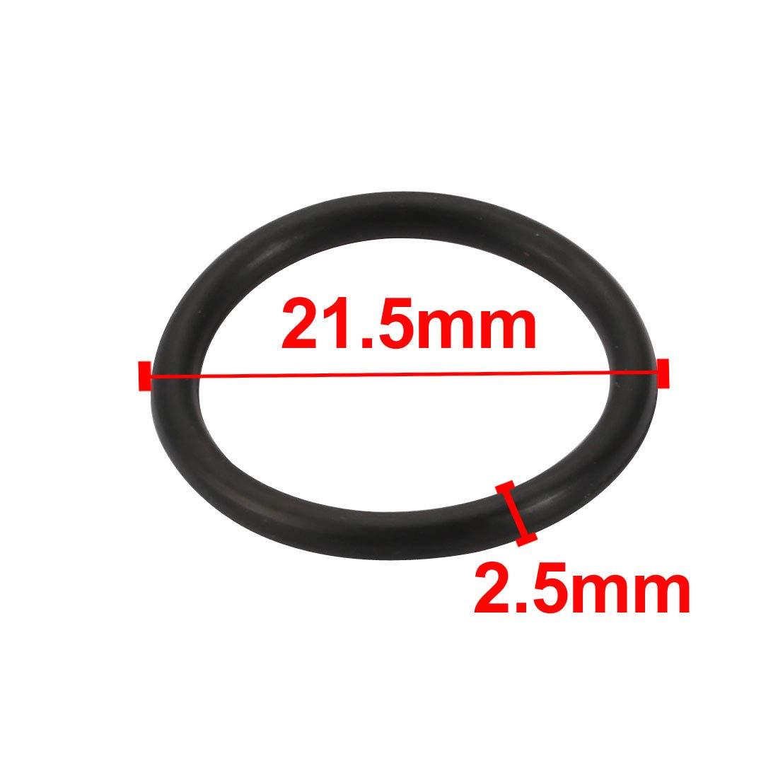 sourcing map 20pc noir Caoutchouc butadi/ène nitrile NBR Joint 21.5mm large 2,5mm Dia interne