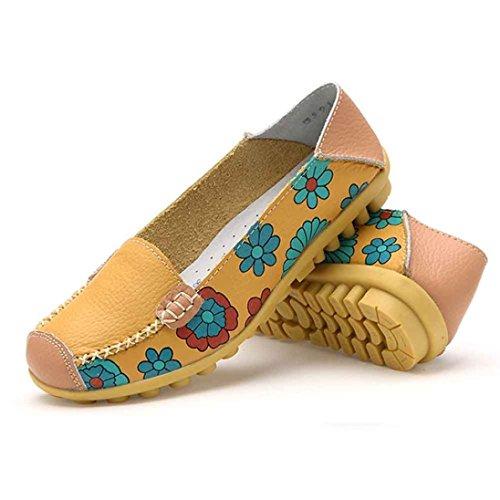 Ama (tm) Kvinnor Läder Blomma Tryckta Loafers Tillfälliga Båt Skor Lägenheter Gul