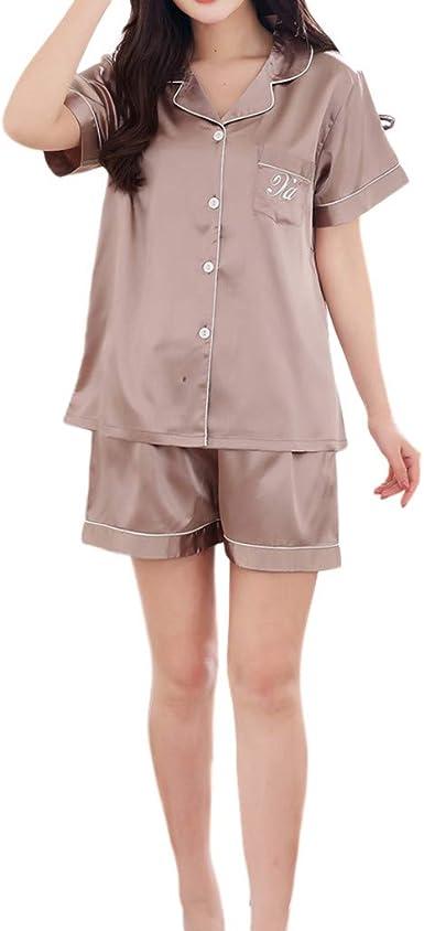Rcool Camisones Batas Y Kimonos Camisones Mujer Camisones Verano Camisones Tallas Grandes Mujer Conjunto De Pijamas De Mangas Cortas De Color Puro De Primavera Para El Hogar Amazon Es Ropa Y Accesorios
