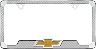 product image for Chrome Plated License Frame with Simulated Carbon Fiber Inlays and 3D Chevy Bowtie (Silver)