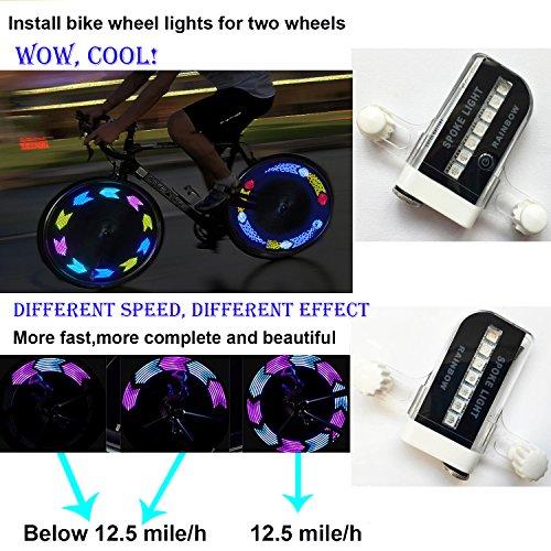 QANGEL Bike Wheel Lights,Waterproof Bike Spoke Lights Ultra Bright 14 LED Bicycle Wheel Lights,Safety Cool RGB Bike Tire Light for Kids Adults,30 Patterns Changes, Auto & Manual Dual Switch (2 Pack) by QANGEL (Image #1)