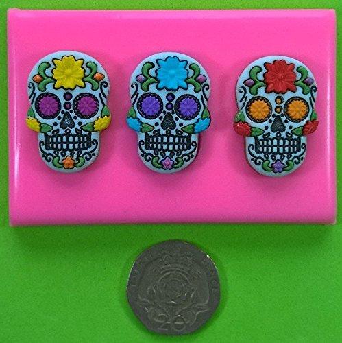 Fairie Blessings - Molde de Silicona para decoración de Tartas y Cupcakes, diseño de Calavera de azúcar Mexicana (Dia de los Muertos/Esqueleto/gótico): ...