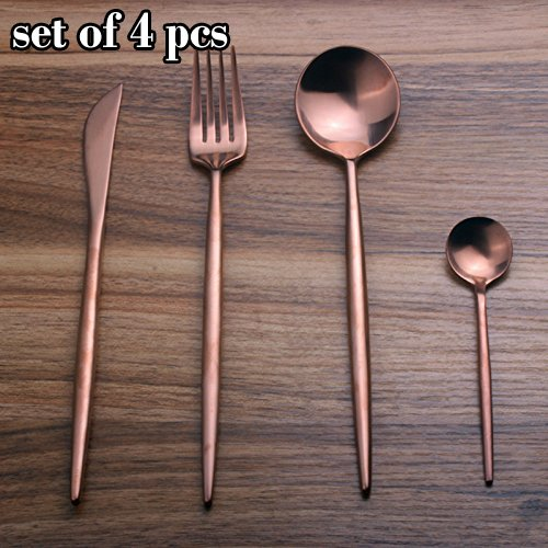 Sino Banyan Luxury Flatware Set,18/10,Gift Package,1Set 4Pcs,Rose & Gold
