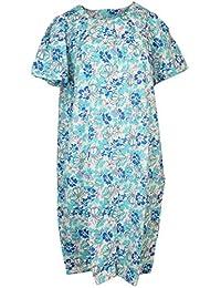 Sindrella Women's Plus Size Cotton Blend House Dress Duster Robe, Snap Front, Pockets