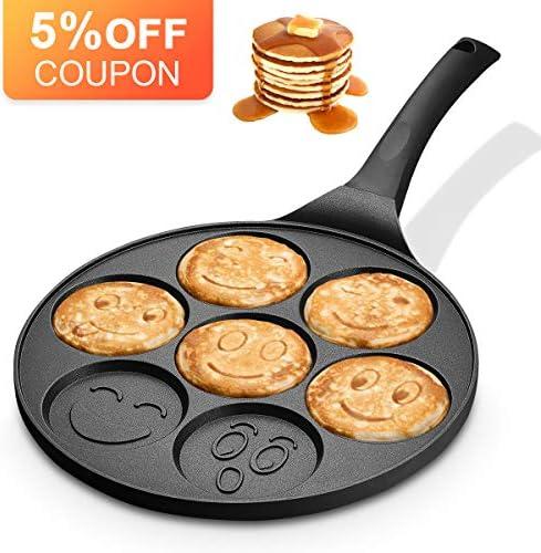KUTIME Emoji Smiley Cake Griddle Mini Pancake Maker with 7 Flapjack Faces Waffle Maker Non-stick Breakfast Pan for Pancake, Fried Egg
