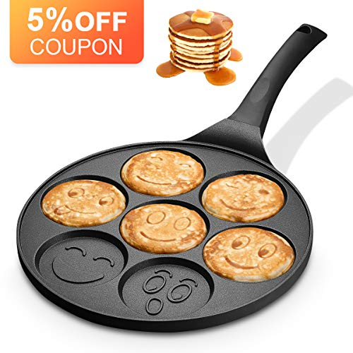 KUTIME Emoji Smiley Cake Griddle Mini Pancake Maker with 7