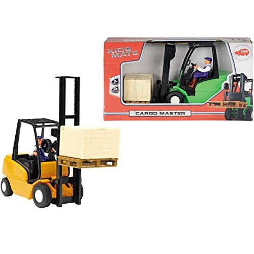 Gabelstapler mit Friktionsantrieb, Fahrerfigur und Kiste, 19 cm: Spielzeug Kinder Bau Fahrzeug Baustelle Stapler Spielzeugauto