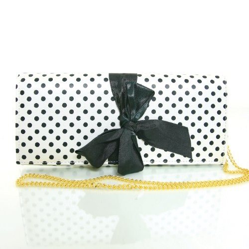 Polka Dot Bow Tie Chain Shoulder Clutch (White), Bags Central