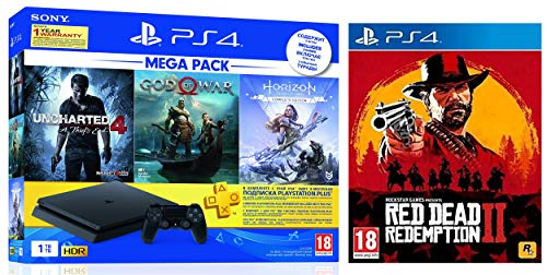 Sony PS4 1 TB Slim Console (Free Games: God of War/Uncharted 4/Horizon Zero Dawn) + Red Dead Redemption - 2 (PS4)