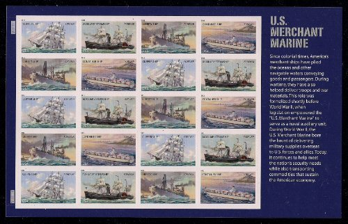 U.S. Merchant Marine Sheet of 20 Mint NH US Postage Forever Stamps 4548-4551 by USPS