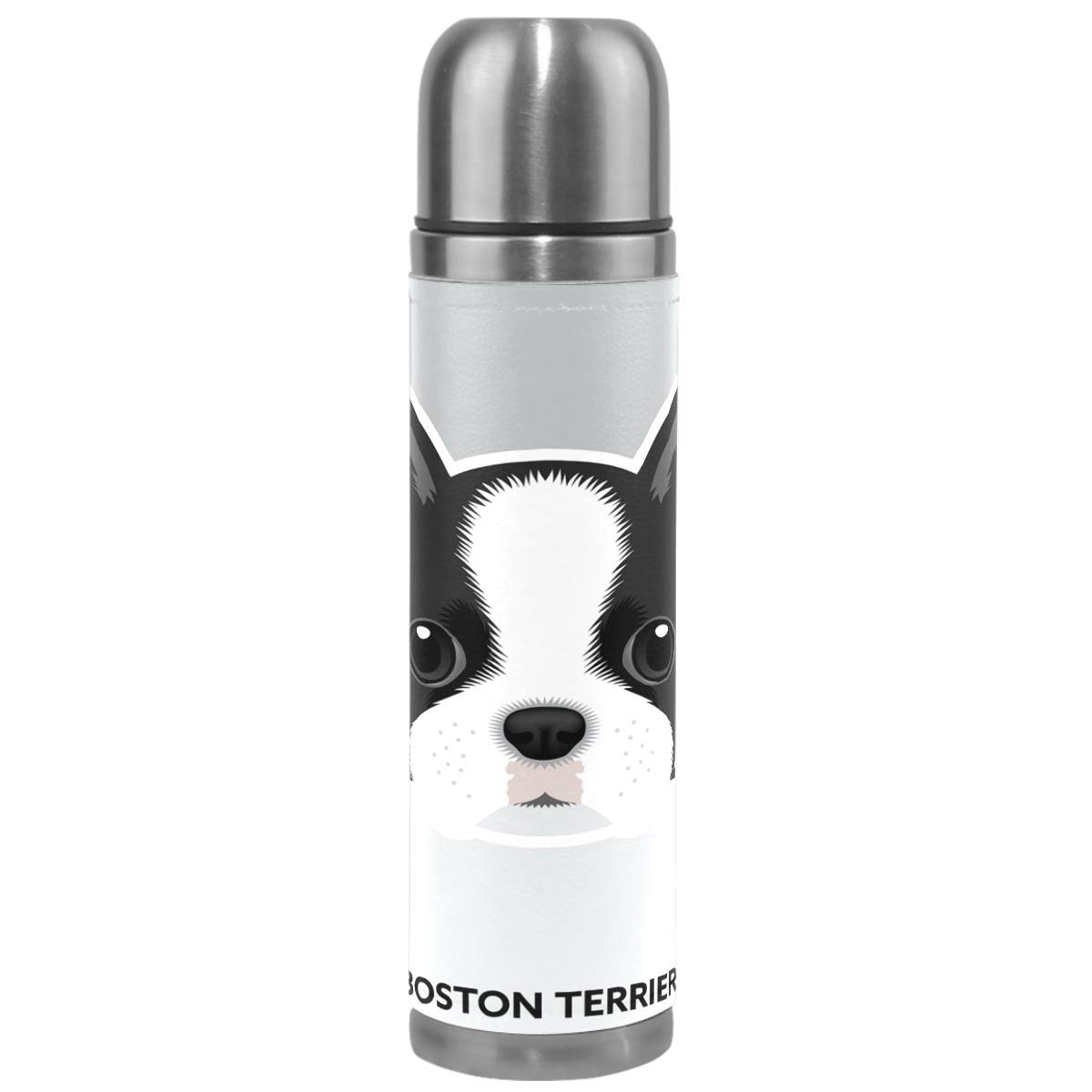 Wamika Cute Dog Pattern Vacuum Insulated Stainless Steel Water Bottle, Boston Terrier Puppy Funny Pets Animals Sports Coffee Travel Mug Thermos Cup Genuine Leather Cover Double Walled BPA Free 17 OZ by Wamika (Image #1)