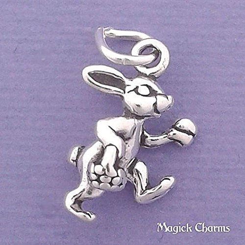 925 Sterling Silver 3-D Easter Bunny Rabbit with Basket of Eggs Charm Jewelry Making Supply, Pendant, Charms, Bracelet, DIY Crafting by Wholesale Charms