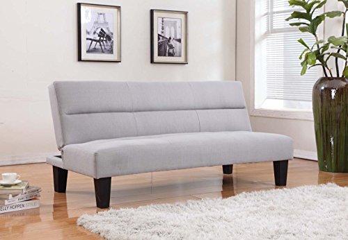 Home Life Linen with Adjustable Back Klik Klak Sofa Futon Bed Sleeper Convertible Pocket Coil Seat, 65' Wide, Light Beige