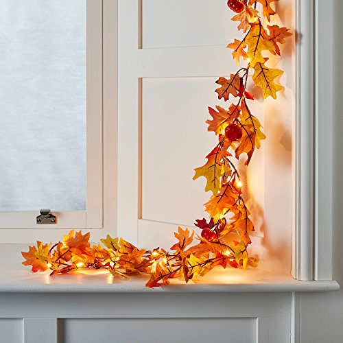 Fall Leaf & Pumpkin Battery Operated LED Thanksgiving Lighted Garland Decoration