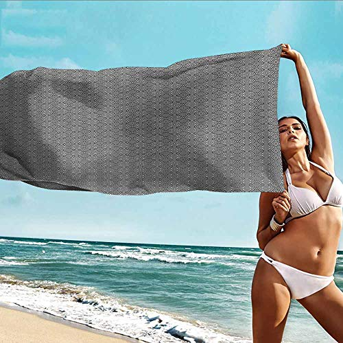 Antonia Reed Bathroom Towel Abstract,Minimalist Inspirations Grid Style Interlace Striped Geometric Contemporary Art,Black White,Bath Towel Great for Beach Trips,Pool,Swimming and Camping 20