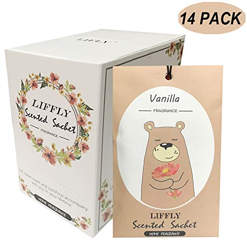 LIFFLY 14 Packs Vanilla Scented Sachets fit Drawers and Closets (Drawer Liner Scented Vanilla)