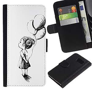 KingStore / Leather Etui en cuir / Samsung Galaxy S6 / Chica globo blanco Pluma blanca Negro