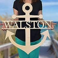 SALE 16-36 inch Wooden NAME ANCHOR SIGN Wooden Name Anchor - Ready to Paint - Nautical Decor - Anchor Door Hanger - US Navy Decor - Beach House Decor - Lake House