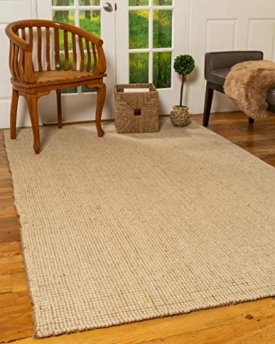 Natural Area Rugs 100 Natural Fiber, Hand Loomed Larisa Beige Wool Jute Rug, 9 x 12