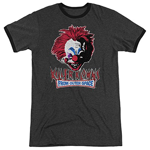 Killer Klowns from Outer Space Horror Distressed Clown Adult Ringer T-Shirt Tee Charcoal]()