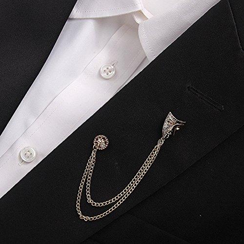 Bouton de Col Broche Doubles Chaînes Masque-forme Bijoux Rétro Couleur d'Or