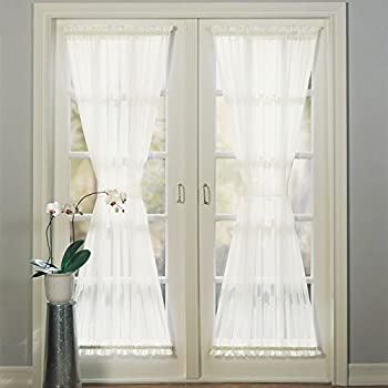 Amazon.com: 1 Piece 72 Inch White Solid Color Semi Sheer French Door Curtain Single Panel, White