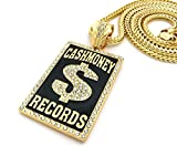 Mens Iced Out Hip Hop Silver or Gold Cash Money Records Pendant Franco Chain Necklace