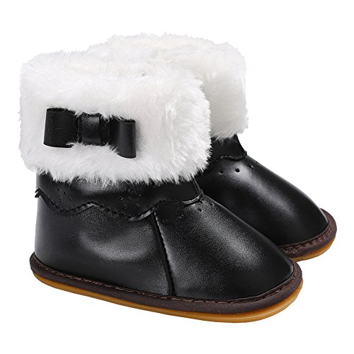 Baby Girls Bowknot Winter Snow Boots (Black) - 6