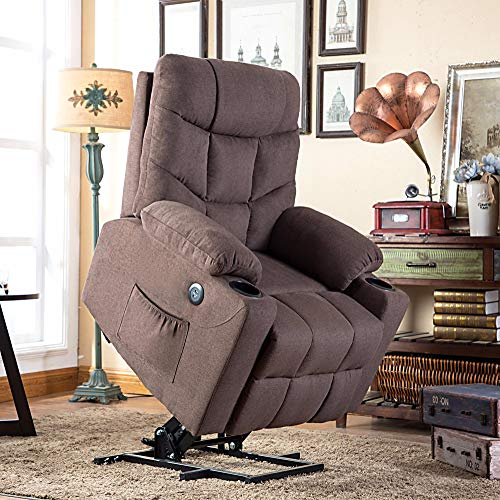 Mcombo Electric Power Lift Recliner Chair Sofa for Elderly, 3 Positions, 2 Side Pockets and Cup Holders, USB Ports, Fabric 7286 (Brown)