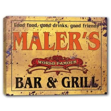 MALER'S World Famous Bar & Grill Gallery Wrapped Canvas Sign Home Wall Decor Bar Gift 24