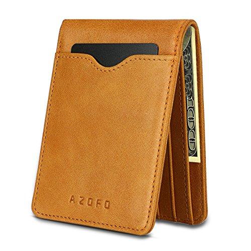 AZOFO RFID Bifold Wallets Front Pocket Card Holder Money Clip, Genuine Leather ()