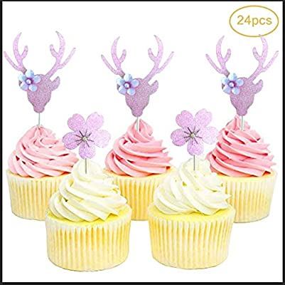 24pcs Pack Pineapple Cupcake Pick Cake Topper Birthday Party Decoration