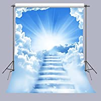 5x7FT Shiny Clouds Stairs Photography Backdrop Children Photo Props Room Mural FUERMOR Studio Background R738