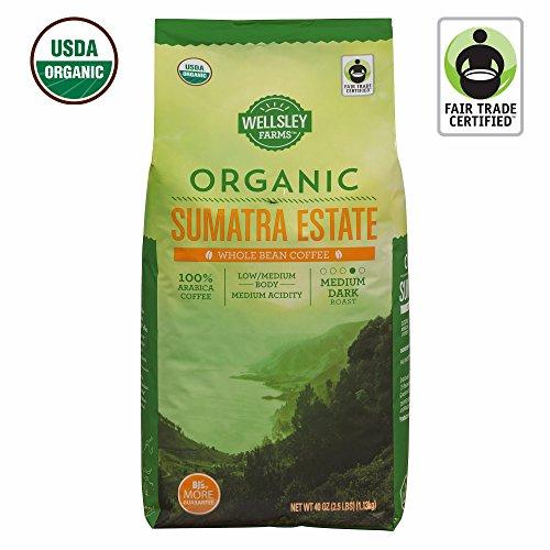 Wellsley Farms Organic Sumatra Estates As a rule Bean Coffee, 40 oz. (pack of 2)