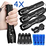 4 X Ultrafire Tactical 15000LM T6 Power LED Zoom Flashlight + 18650&Charger USA